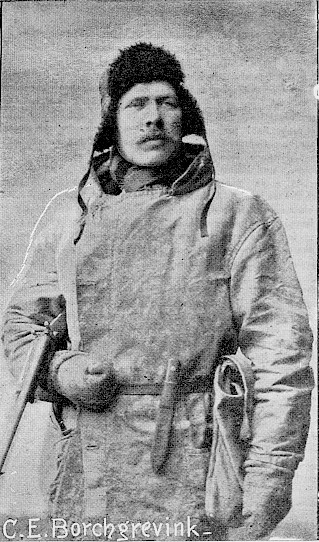 Borchgrevink wearing cold weather gear, carrying a rifle